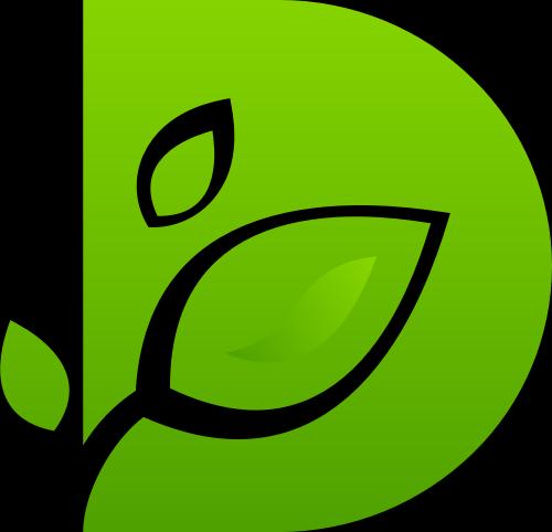 绿色叶子字母D矢量logo