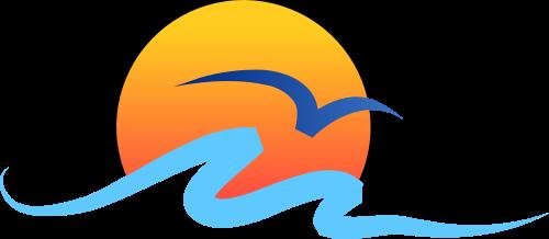 红色太阳海浪矢量logo
