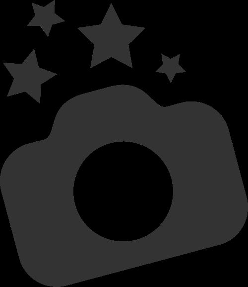 黑色相机星星矢量logo图标