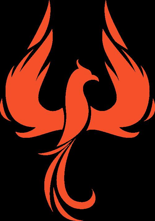 橙色凤凰火烈鸟矢量logo元素