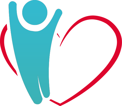 蓝色人物心形矢量logo图标