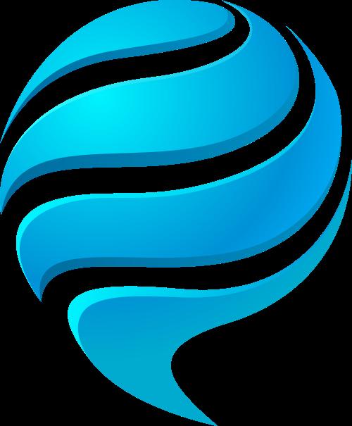 蓝色球体矢量logo图标