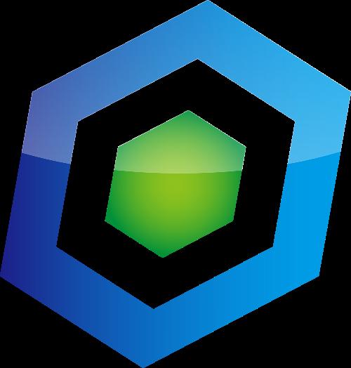 蓝色绿色六边形立体矢量logo