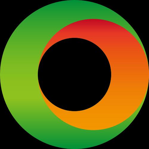 绿色橙色圆环立体矢量logo
