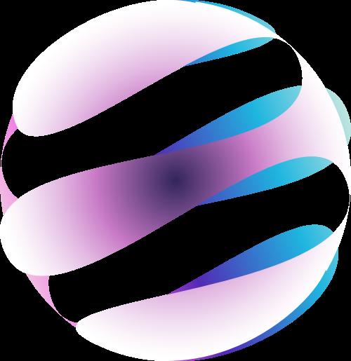 蓝紫色动感音乐矢量logo
