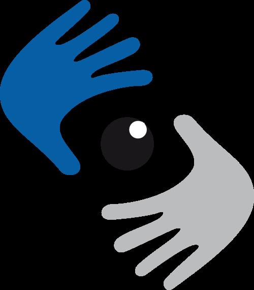 蓝色灰色手矢量logo图标