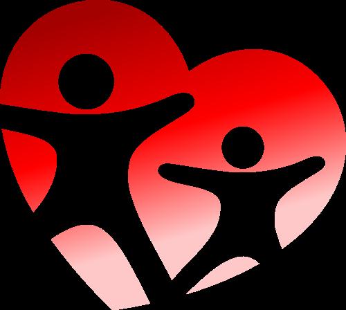 红色心形人物矢量logo图标