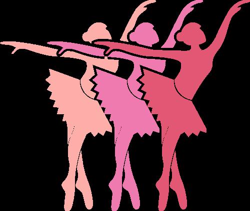 彩色芭蕾舞女孩矢量logo图标