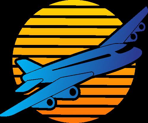 橙色蓝色飞机矢量logo