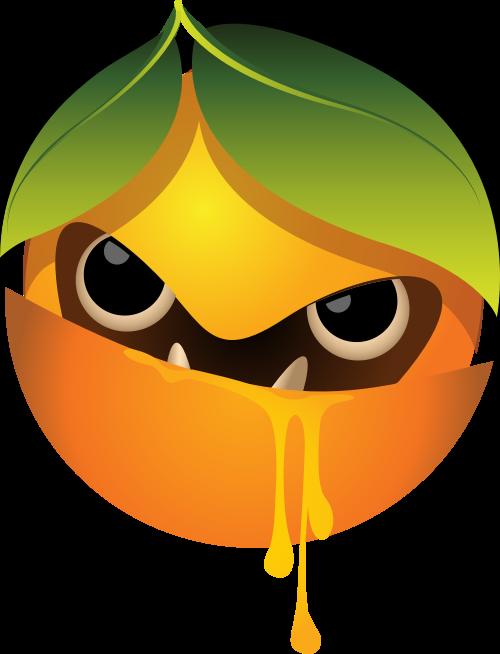 橙色邪恶橙子矢量logo