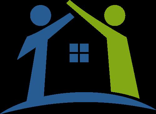 蓝绿色人物房子矢量logo元素