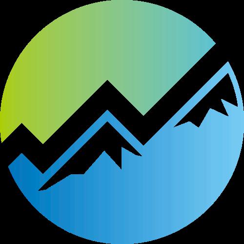 蓝绿色圆形山峰矢量logo元素