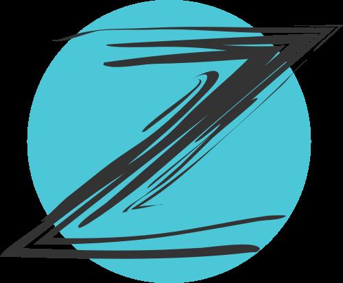 蓝色圆形字母Z矢量logo