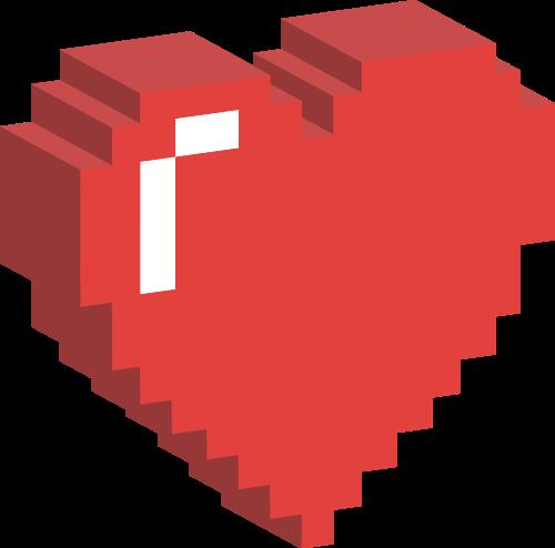 红色立体心矢量logo元素