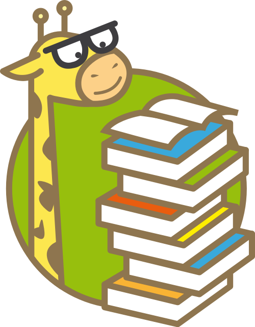 绿色卡通长颈鹿书本矢量logo元素矢量logo