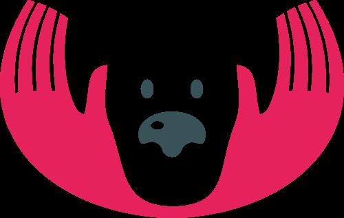 粉色狗手矢量logo图标