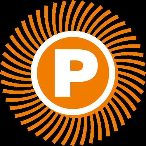 橙色太阳字母P矢量logo