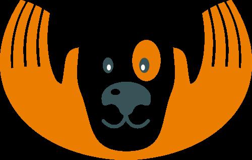 橙色狗手矢量logo元素