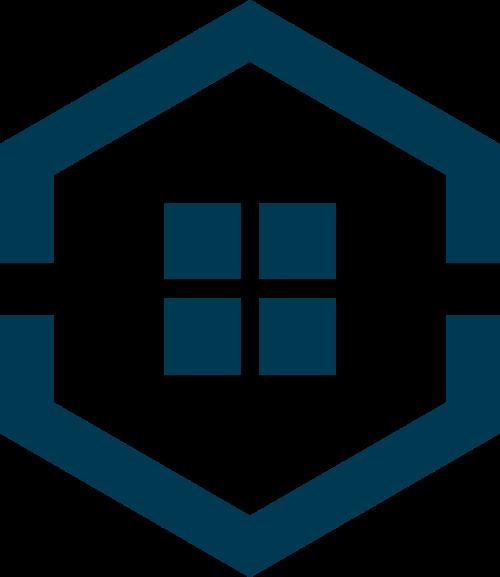 蓝色六边形房子矢量logo矢量logo