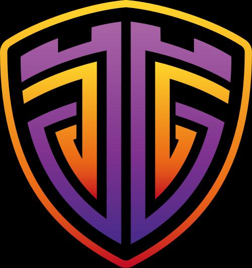 黄色紫色字母G盾牌矢量logo