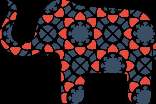 彩色小象矢量logo