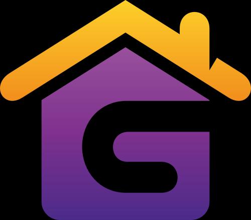 黄色紫色字母G房子矢量logo