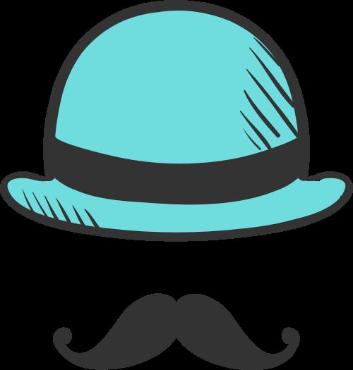 蓝色帽子胡子矢量logo元素矢量logo