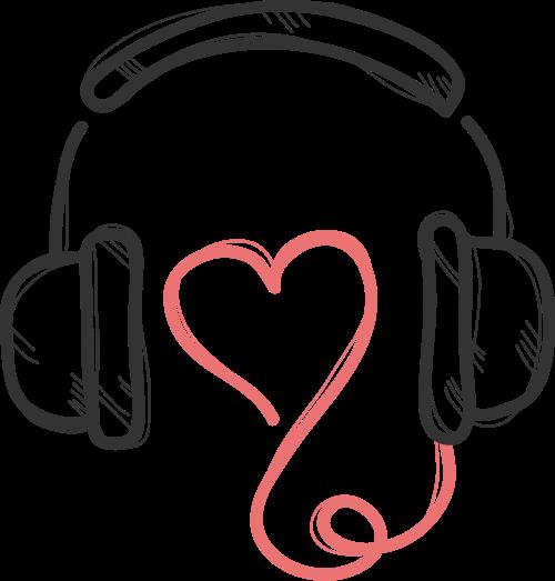 黑色耳机心形矢量logo元素