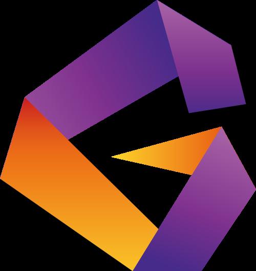 黄色紫色字母G矢量logo