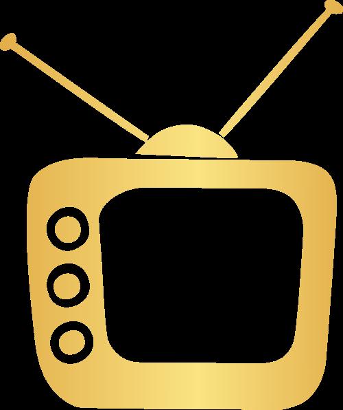 金色电视矢量logo元素