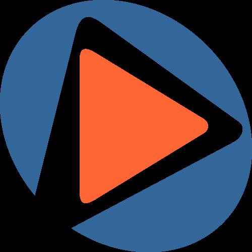 蓝色橙色视频矢量logo
