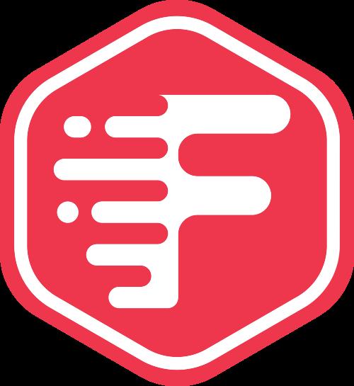 红色六边形字母F矢量logo