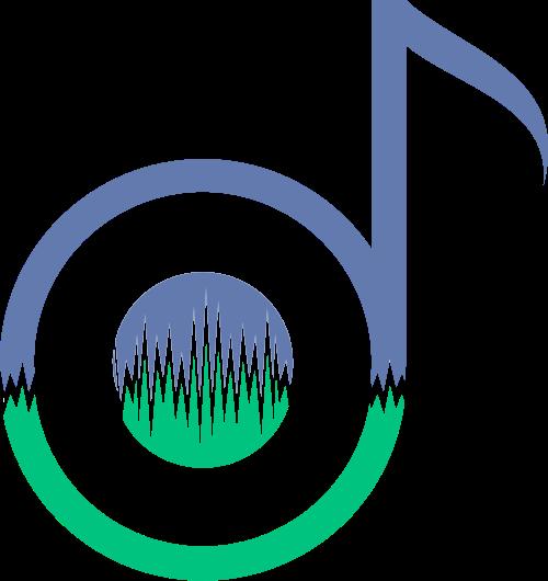 蓝绿色音乐音符矢量logo