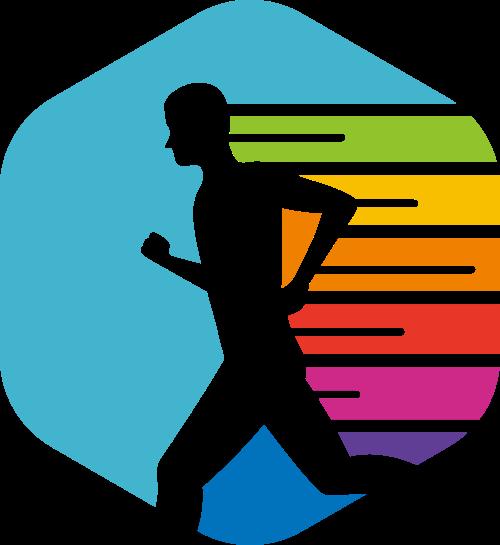 彩色人物运动矢量logo