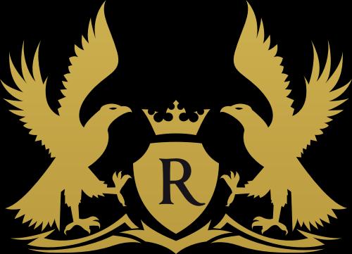 金色鹰皇冠字母R矢量logo元素
