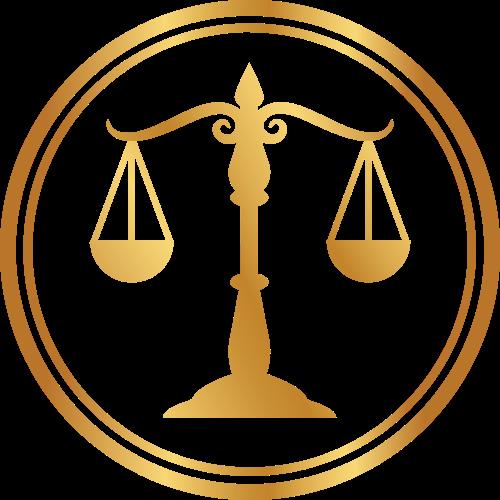 金色圆形天平矢量logo