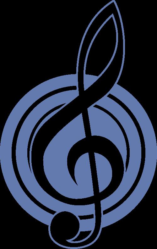 蓝色圆形音符矢量logo