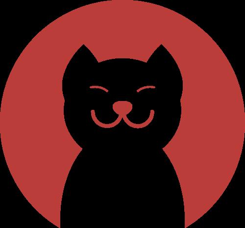 红色圆形猫矢量logo