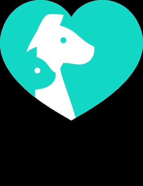 绿色心形宠物矢量logo