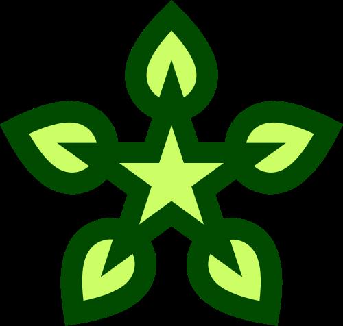 绿色叶子星星矢量logo