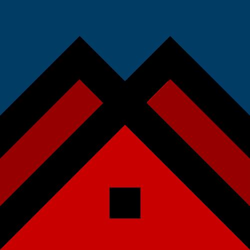 蓝色红色房子矢量logo元素