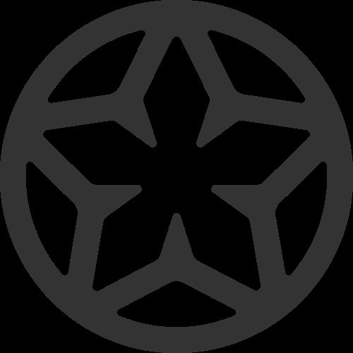 黑色圆形星星矢量logo