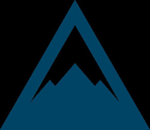 蓝色三角形山峰矢量logo