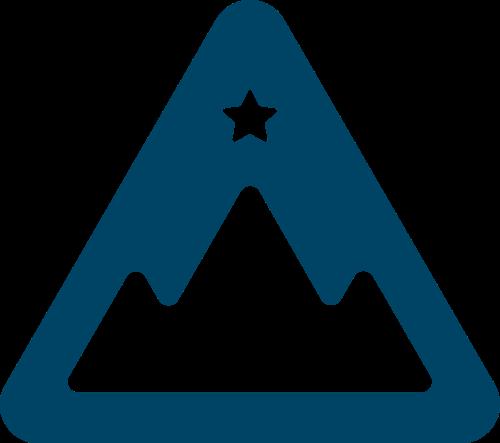 蓝色三角形星星矢量logo元素