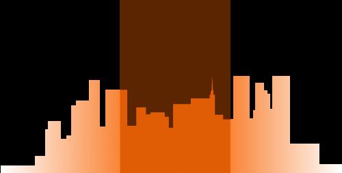 橙色城市生活矢量logo