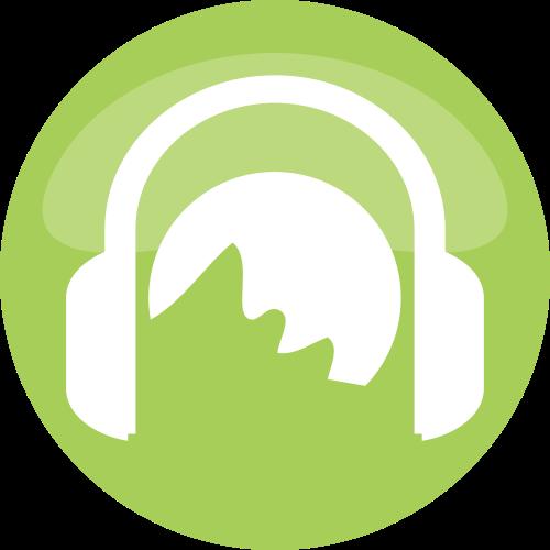 绿色圆形耳机矢量logo