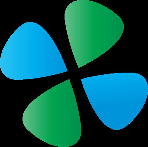 蓝色绿色四叶草矢量logo