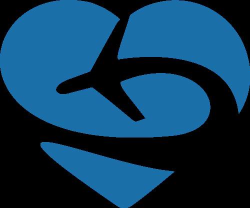 蓝色心形飞机矢量logo