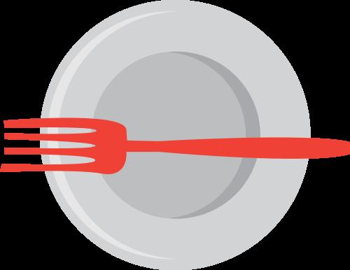红色灰色叉子盘子矢量logo