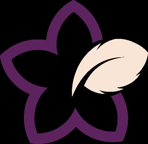 紫色花朵叶子矢量logo